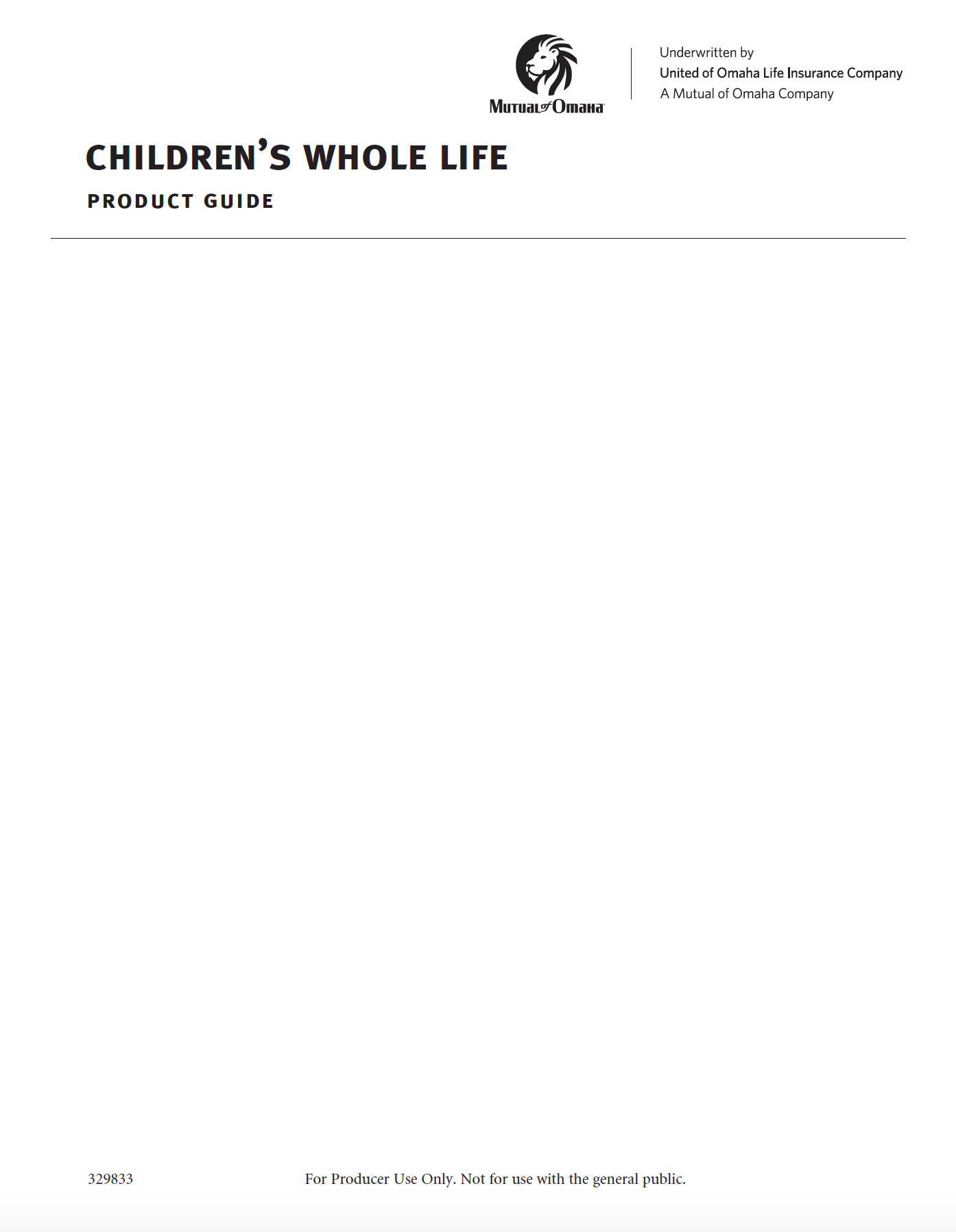 Children's Whole Life Product Guide